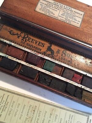Antique Reeves & Sons Student Water Colour Box and Palette