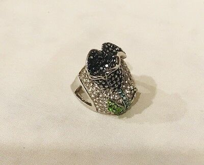 Vintage Silver Tone Cocktail Ring With Flower Rhinestone Ring