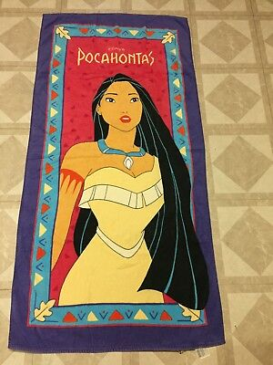 Disney Pocahontas Beach Towel Kids 100% Cotton Rare 90s Collectible