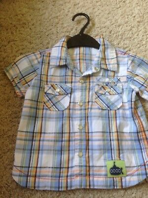 Baby Boys Shirt Blue & White Check 12-18 Months with pearlised buttons & pockets