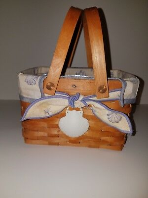 Longaberger 1999 Sea Shell Basket w/ Liner, Protector and Shell Tie On