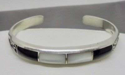 Useful Vintage Sterling Silver **onyx & Mother Of Pearl Bracelet** #qa379 Jewelry & Watches
