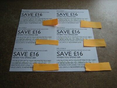 Waitrose Money Offer Vouchers 6 x £16 Off £80 Spend