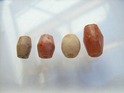 4 Ancient Neolithic Carnelian, Quartz Beads, Stone Age, RARE !!