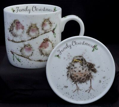 Royal Worcester Wrendale Designs Family Christmas Mug And Coaster Robins