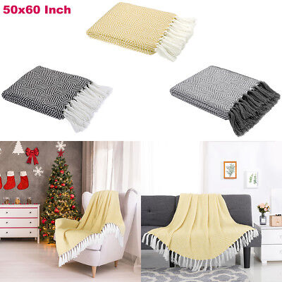 """50""""x 60"""" Knitted Throw Blanket Tassels Super Soft Winter Warm Rug Cover Sofa Bed"""