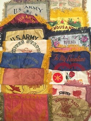 Vintage Lot of 15 Silk US Army/Navy Souvenir Pillow Cases