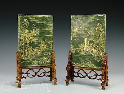 Pair Of Gilt Accented Spinach Green Jade Plaques With Writing And Stands