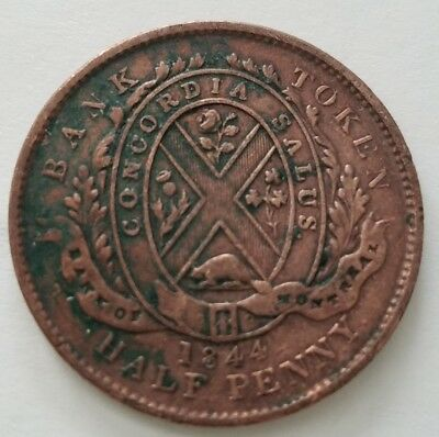 1844 Province of Canada Bank of Montreal Halfpenny Token/Coin, small trees