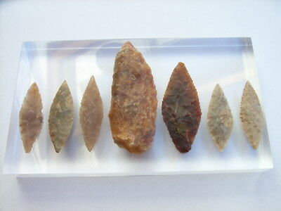 7 Ancient Neolithic Flint Arrowheads, Stone Age, VERY RARE !!