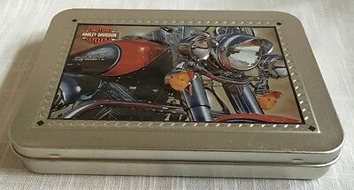Harley Davidson Motorcycle Tin & 2 Decks of Playing Cards 1 Sealed & 1 Played