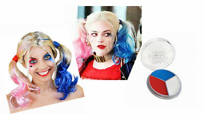 Harley Quinn Blonde Bunches Wig Face Paint White Blue Red Halloween Fancy Dress