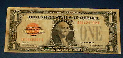 1928 FUNNYBACK One Dollar $1 RED SEAL United States Note Funny Back