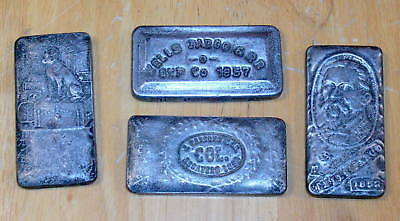 Four 4 oz. WELLS FARGO & Co. Fantasy Silver Ingot Bars Old West Movie props