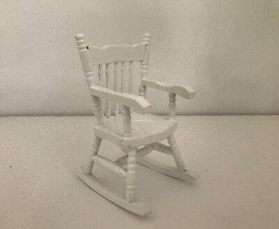 Dolls House Miniature 1:12th Scale White Rocking Chair