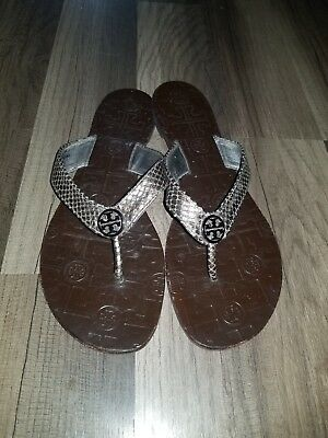 a680571887b80 TORY BURCH LEATHER Snake Print Womens Flat Sandals Sz 8M 2107 ...