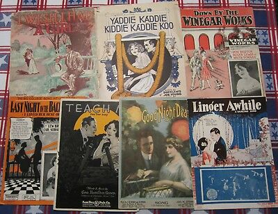 Lot Of 7 Early 20Th Century Vintage Sheet Music,love Songs,color Cover Art