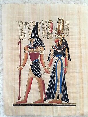 Hand Painted Egyptian Art On Papyrus.