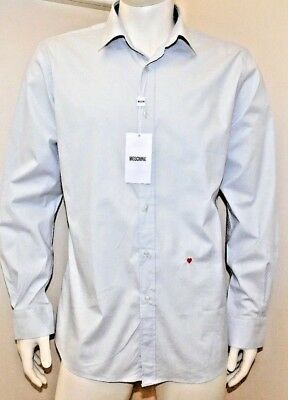 Moschino Mens boxed Long Sleeve embroidered heart Shirt light grey BNWT