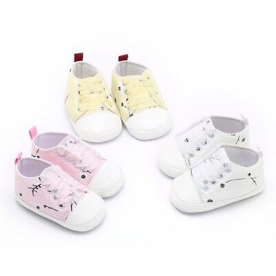 Newborn Toddler Baby Girl Boy Floral Embroidery Print Soft Sole Prewalker Shoes