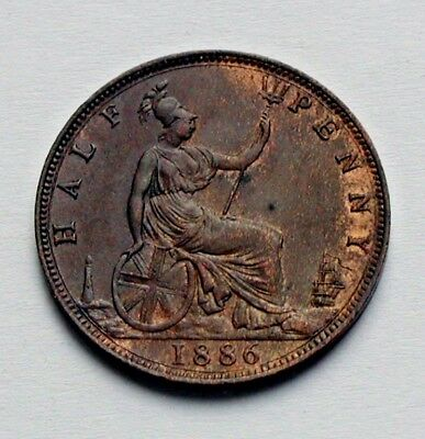 1886 UK (British) Victoria Coin - 1/2 Penny - AU++ toned-lustre - weakly struck