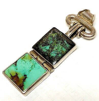 Gorgeous Vintage Solid Sterling Silver Large Turquoise Pendant