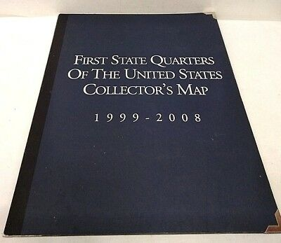 First State Quarters Of The United States Collectors Map 1999-2008 W/coa