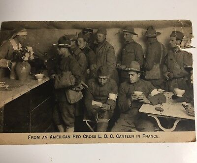 Original Written Signed Postcard Soldier Red Cross Marseilles France 1919 WWI