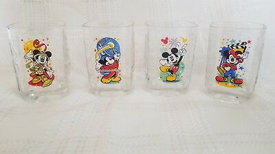 Mickey Mouse McDonalds Glasses Set of 4 Square Disney Collector