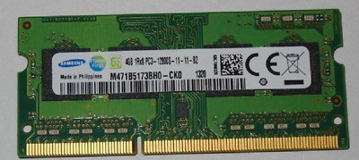 Samsung PC3-12800 4GB(1 module of 4GB)(DDR3-1600Mhz) SO-DIMM (M471B5173BH0-CK0)