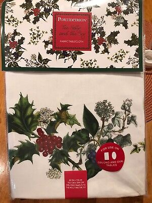 """New! Portmeirion Holly and Ivy tablecloth 60"""" x 104"""" oblong"""