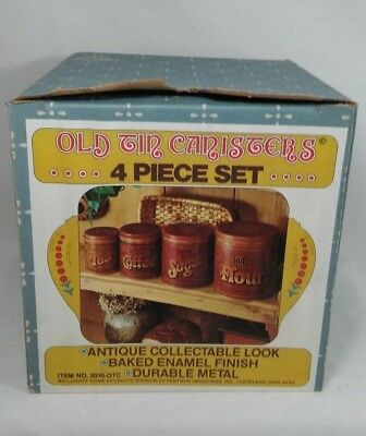 Ballonoff Old Tin Canisters Set 4 Baked Enamel Finish Nested w/lids and box!