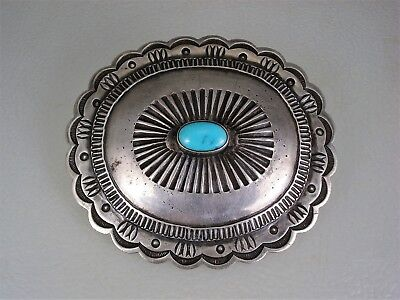 Large Old Navajo Handwrought Sterling Silver & Turquoise Concho Pin