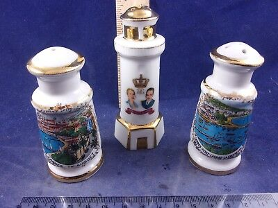 RARE Lot of Limoges France Grace Kelly Cannes Casino Single Salt Pepper Shakers