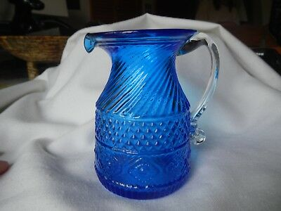 Antique Boston Sandwich Glass Cobalt Creamer Pressed Molded Eapg Vintage