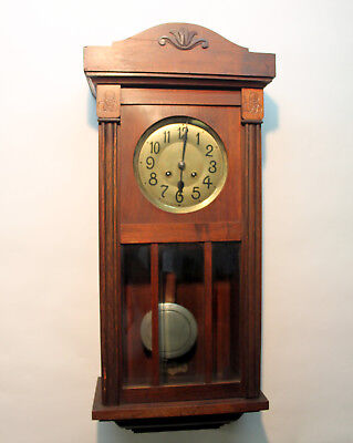 Antique Wall Clock Chime Clock  Regulator 1920th with 2 hammer and 2 spiral