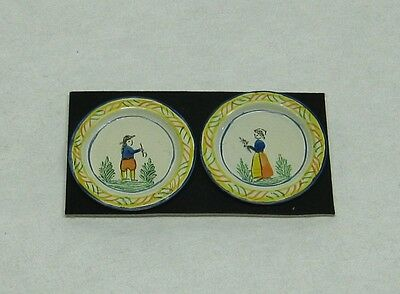 Dollhouse Miniature Hand Painted Quimper Pair of Large Plates from England