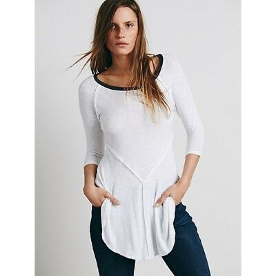 0f75bdeb205d Free People Intimates XS Weekend Layering Tee Top Snow Combo White Black