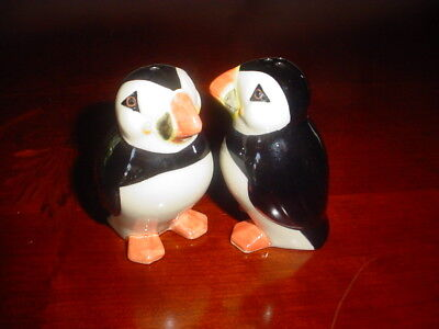 PUFFINS Salt & Pepper Shakers/Pots by Quail Ceramics (puffins standing)