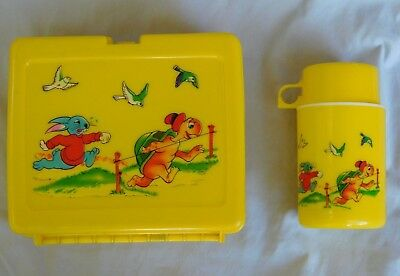 Vintage The Hare and The Tortoise Lunchbox Plastic with Thermos