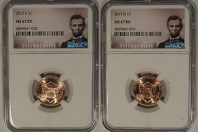 2017 P & D Lincoln SHIELD Cent 2 Coin Set 1c NGC MS 67 RD Lincoln Label Spotless