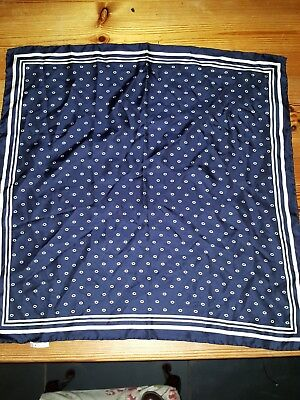 Eastex vintage silk scarf navy and white hand rolled scarf