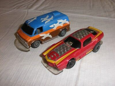 Vintage Lot of 2 Slot Cars TYCO 1 Van and 1 Race car parts H.K.