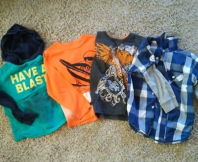 Lot of 4 - Long Sleeve Toddler Boys size 4/5 Tops/Shirts GAP ect