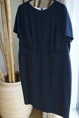 NEW MARKS AND SPENCER SMART Navy LINED  DRESS   SIZE 22