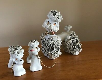 Vintage Porcelain Spaghetti White Gold Poodle With Two Pups Made In Japan