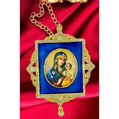 Virgin Mary Enameled Jeweled Ornate Framed Icon Ornament w/ Crystals &Chain Blue