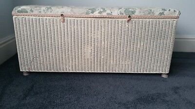 Retro Vintage Lloyd Loom Ottoman Storage Blanket Linen Toy Box Chest