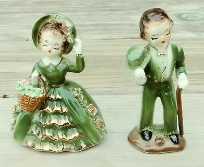 VINTAGE WALES Japan Couple in Green dress and Top Hat & Tails Figurine VGC