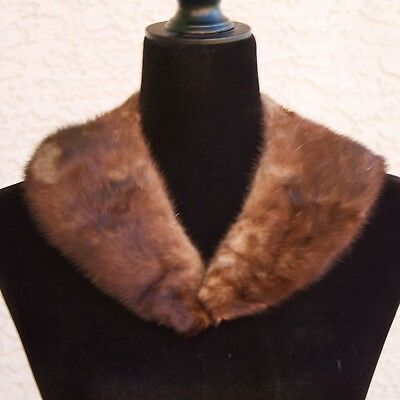Vintage 50s-60s MINK Fur Collar Brown Glam Costume Janet Snakehole Halloween